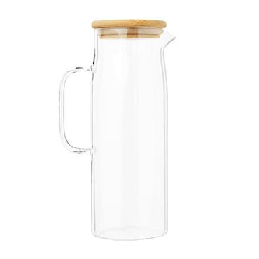Carafe en verre et couvercle en bambou 1