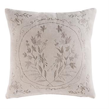 Avec son air précieux et son allure chic, le coussin en velours gris motif floral 45x45 ELEONORE attirera tous les regards ! Entre son garnissage moelleux et la douceur de ...