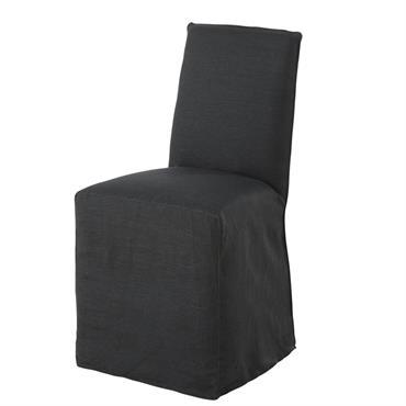 Housse de chaise en lin lavé gris charbon