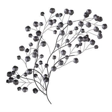 Déco murale fleurs en métal noir 136x73