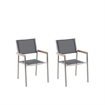 Lot de 2 chaises grises en acier