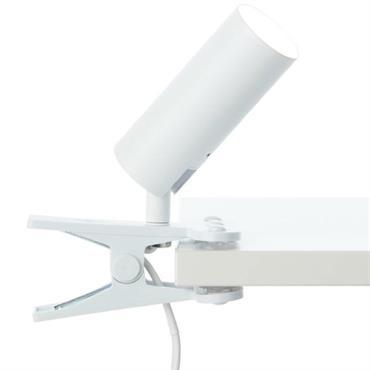 Spot à pince LED orientable avec interrupteur métal blanc