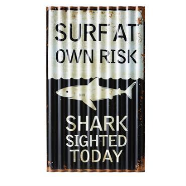 Plaque décorative en métal noir et blanc SURFING