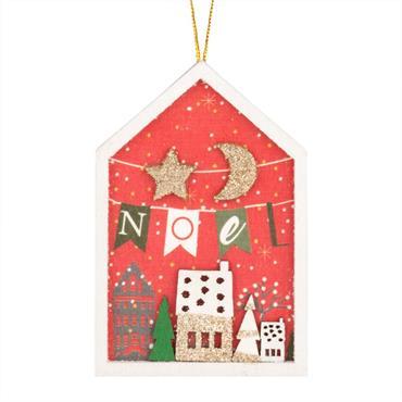 Suspension de Noël maison rouge