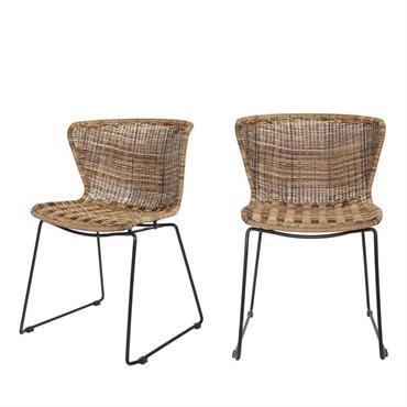 2 chaises indoor et outdoor résine tressée naturel