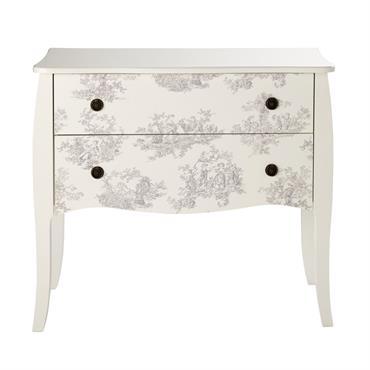 Laissez parler votre cœur avec la commode 2 tiroirs blanche à motifs GEMMA , un temps soit peu romantique. Elle vous comblera par ses formes arrondies et son style champêtre. ...
