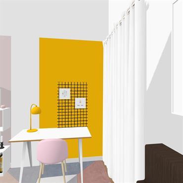 La pièce a été bien pensée pour optimiser l'espace en organisant un coin calme pour la nuit avec son lit, ... Domozoom