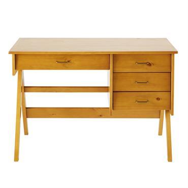 Succombez au bureau 4 tiroirs en pin DAPHNEE qui allie parfaitement style et fonctionnalité. Délicieusement rétro avec ses lignes rectilignes et ses poignées en métal doré vieilli, il s'intégrera parfaitement ...