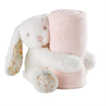 Plaid rose et lapin blanc