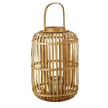 Lanterne en bambou et verre H76