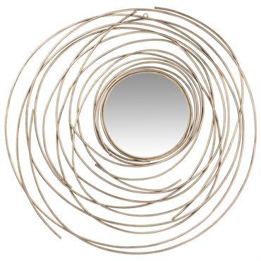 Miroir rond à spirales en métal doré D70