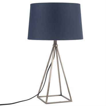 Lampe en métal et abat-jour bleu