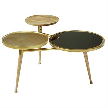 Table basse en manguier et métal doré Gatsby