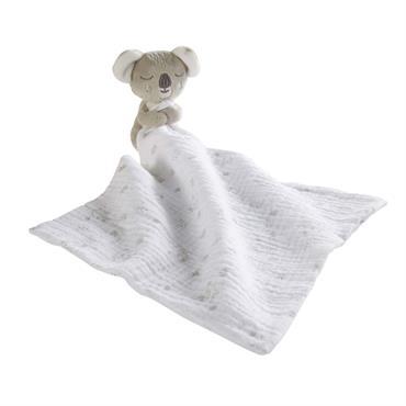 Doudou bébé en coton gris et blanc