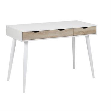 Bureau scandinave avec tiroirs blanc