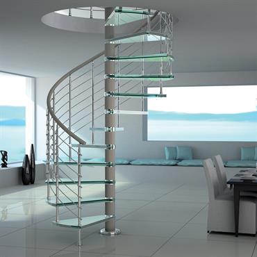 Pièce à vivre avec escalier en colimaçon