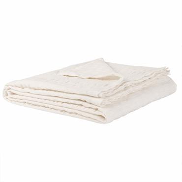 Plaid en coton beige à motifs 140x180