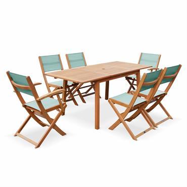 Salon de jardin bois almeria table 2 fauteuils 4 chaises eucalyptus