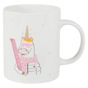 Mug en porcelaine blanche imprimé licorne