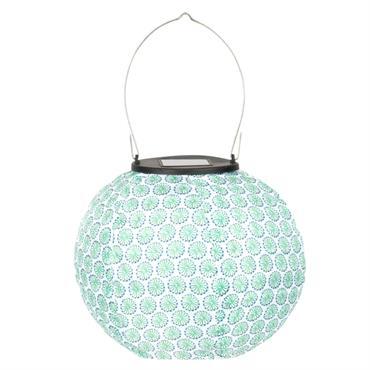 Lanterne lampion en papier bleu et blanc motifs graphiques