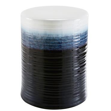 Tabouret de jardin en céramique émaillée bleue et noire