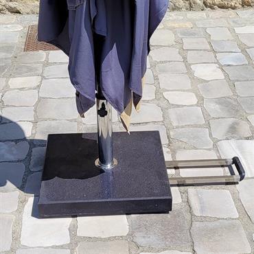 Pied de parasol à roulettes en granit