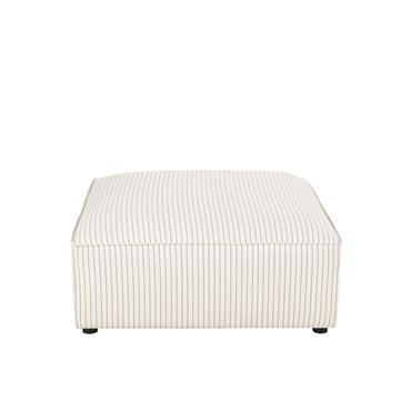 Pouf de canapé blanc motifs à rayures Malo
