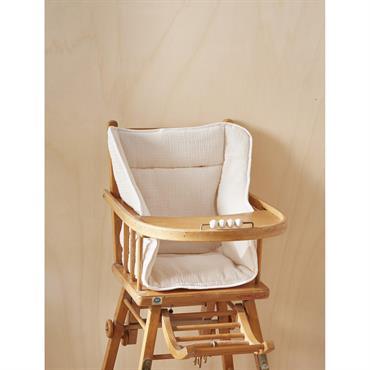 Coussin chaise haute en gaze de coton ivoire