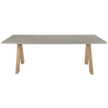 Table de jardin en composite effet béton et acacia massif 6/8 personnes