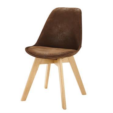 Chaise style scandinave en microsuède marron Ice
