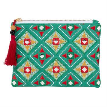Pochette en coton vert motifs graphiques multicolores