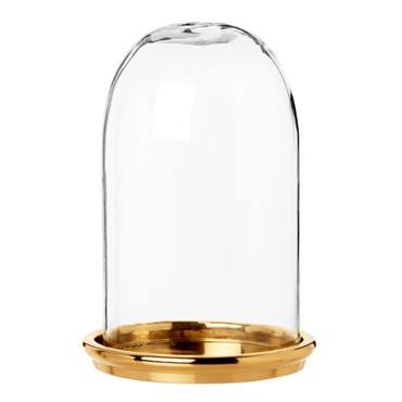 Cloche en verre socle en métal doré