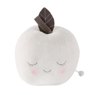 Peluche musicale pomme en coton blanc H