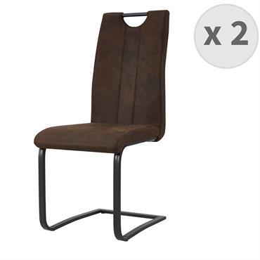 GARDNER-Chaise Microfibre Vintage café pieds métal noir