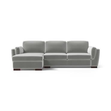Canapé d'angle gauche 4 places en velours gris clair