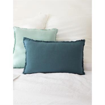 Coussin frangé lin lavé bleu orion
