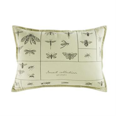 Coussin en coton et lin imprimé insectes 35x50