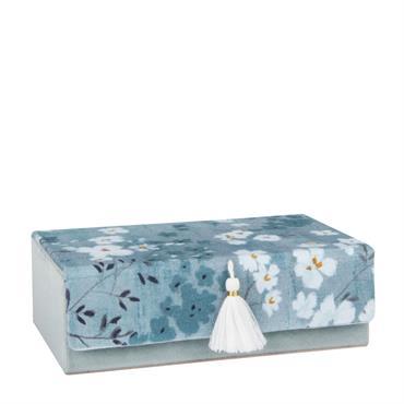 Boîte à bijoux bleue imprimé floral