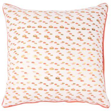 Housse de coussins en coton motifs roses et dorés 40x40