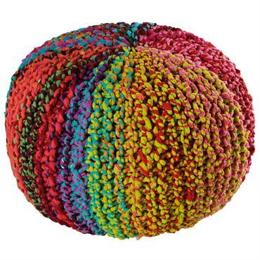 Pouf en fibres recyclées multicolores TYKAL