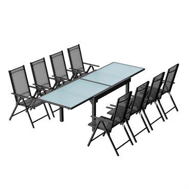 Table de jardin extensible et 8 fauteuils en alu et textilène