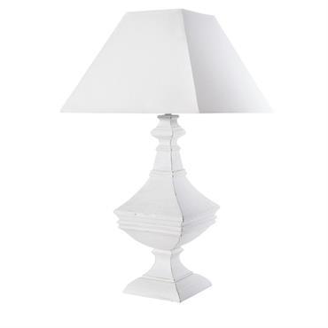 Lampe blanche sculptée et abat-jour blanc