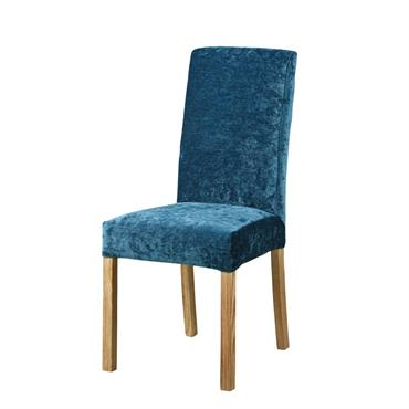 Housse de chaise en velours bleu canard
