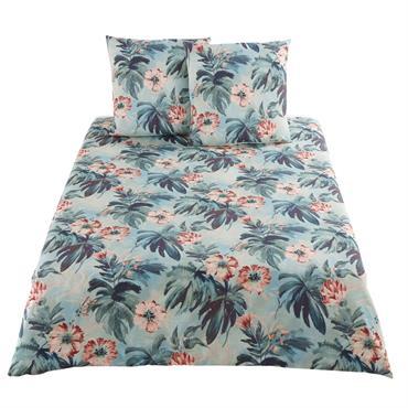 Parure de lit en coton bleu vert motif tropical 220x240
