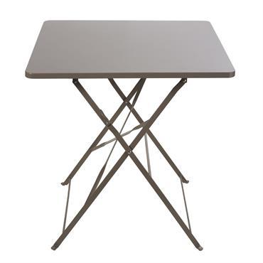 Ajoutez une touche chic à votre extérieur avec la table de jardin pliante en métal taupe 2 personnes L70 GUINGUETTE . Son coloris sobre apportera un vrai côté chaleureux à ...