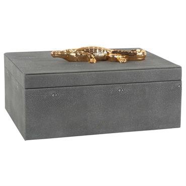 Boîte à bijoux crocodile dorées