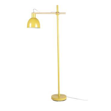 Lampadaire en métal jaune et hévéa