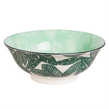 Saladier en porcelaine imprimé palmier
