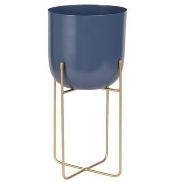 Cache-pot sur pieds en céramique bleue et métal doré H40