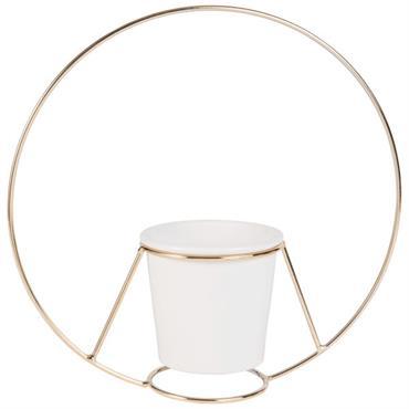 Cache-pot en céramique blanche et support rond doré H40